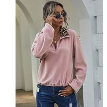 Leopard Colorblock Half Zipper Flannel Sweatshirt