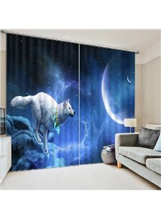 3D White Wolf Chasing the Moon Printed Animal Style Blackout Custom Window Curtain
