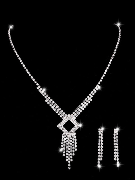 Milanoo Wedding Silver Jewelry Set Tassels Earrings And Necklace Rhinestone Bridal Necklace Set