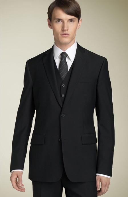 3pc 2 Button Black Supers Wool Suit with Hand Pick Stitching on Lapel