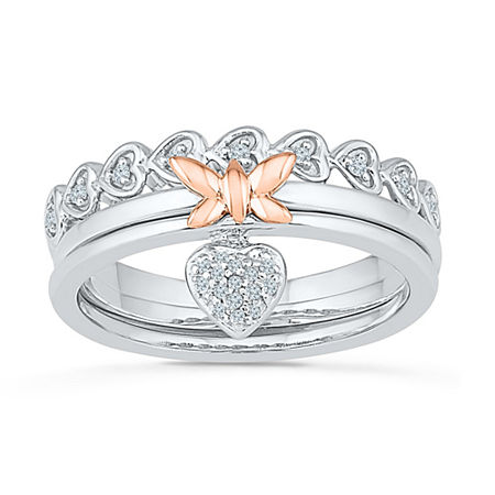 Womens 1/10 CT. T.W. Genuine White Diamond 10K Gold Over Silver Cocktail Ring, 8 1/2 , No Color Family