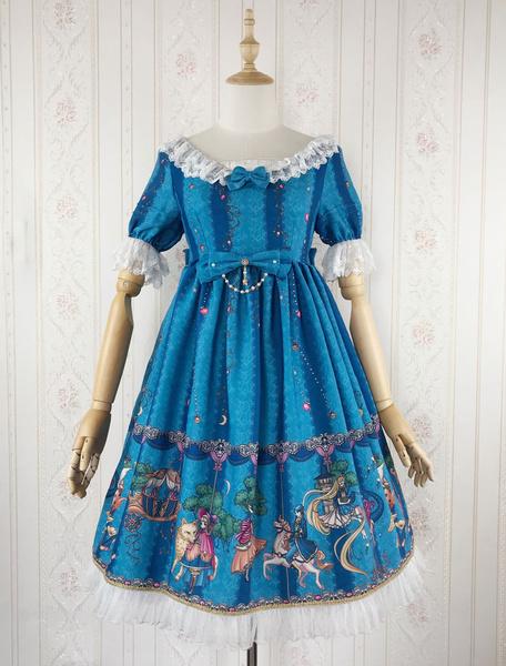 Milanoo Classic Lolita OP Dress Amusement Park In Fairy Tale World Print Ruffle Bow Blue Lolita One Piece Dress