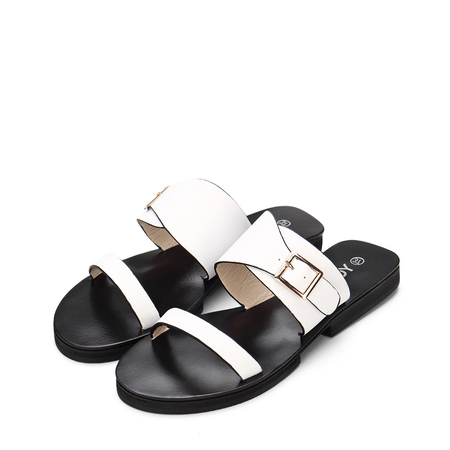 Yoins White Leather Look Pin Buckle Strap Simple Style Flat Slippers