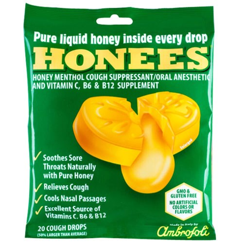 Cough Drops Extra-Large Menthol 20 Count by Honees