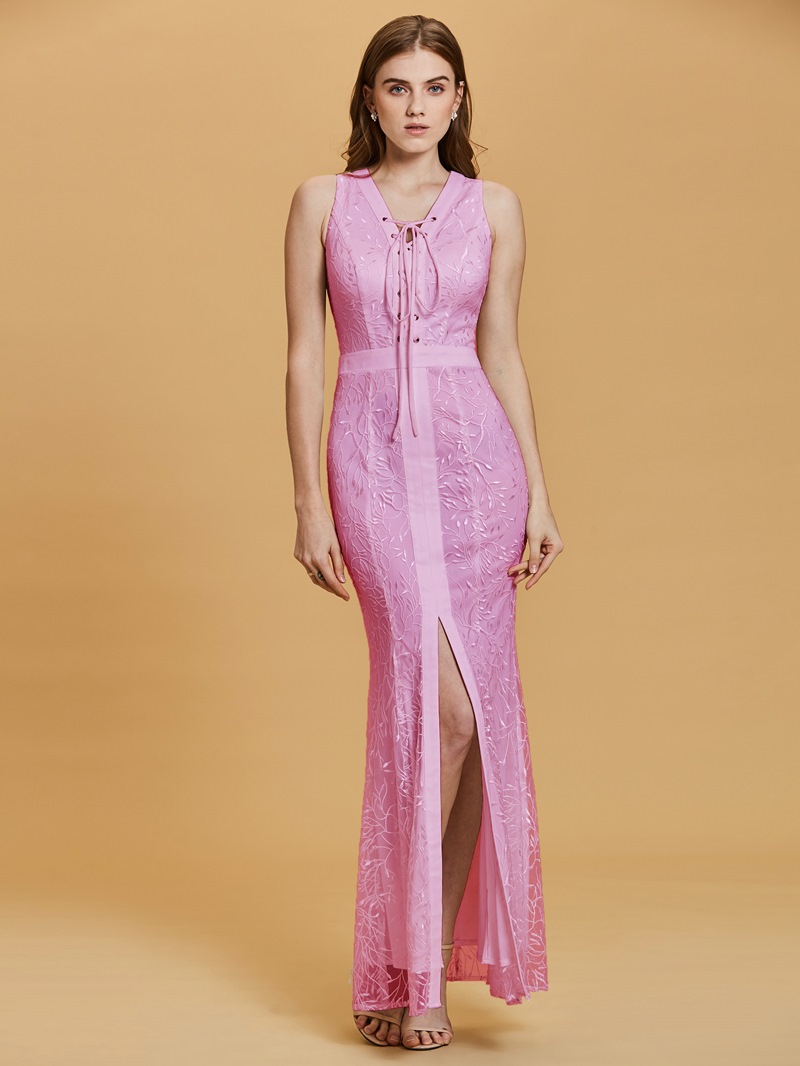 Ericdress V Neck Sleeveless Split-Front Appliques Sheath Evening Dress