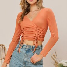 Surplice Neck Knot Ruched Detail Crop Tee