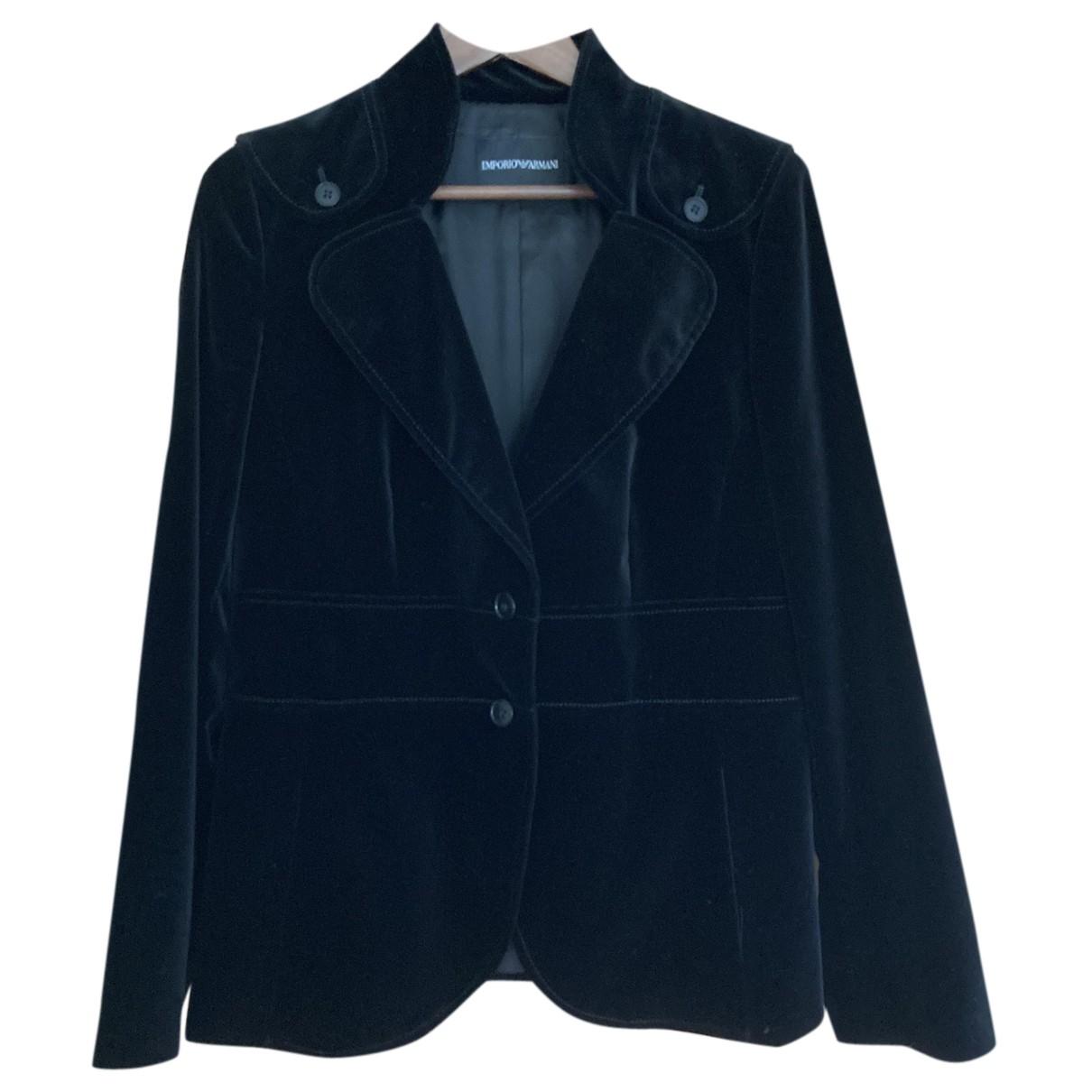 Emporio Armani N Black Cotton jacket for Women 46 IT