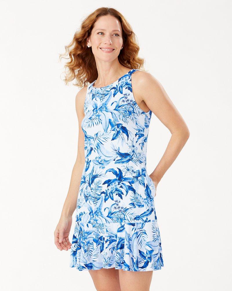 Indigo Garden High-Neck Dress