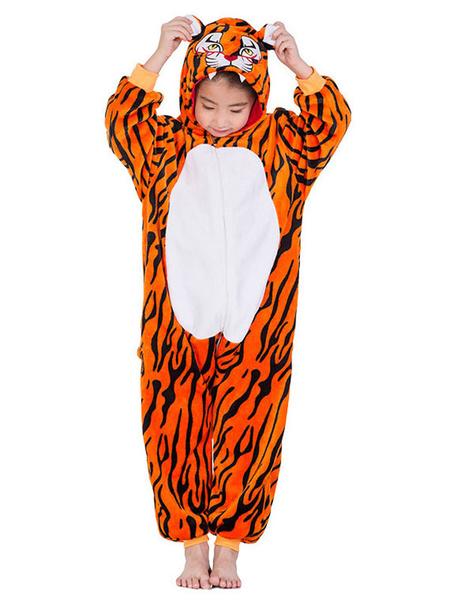 Milanoo Tiger Kigurumi Onesie Pajamas Kids Flannel Winter Sleepwear Mascot Animal Halloween Costume