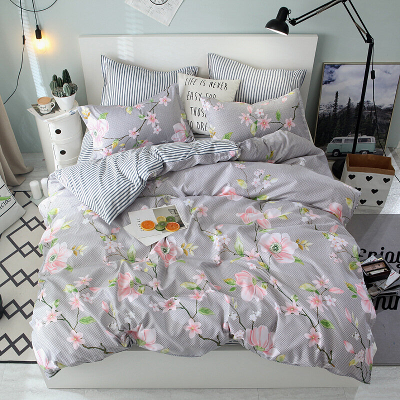 4Pcs Flowers Bedding Sets Queen King Size Duvet Cover Pillowcases Spring Pattern Bedding