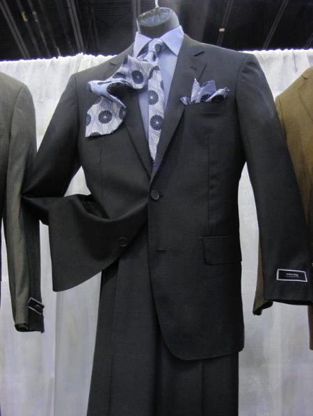 2 PC 2 Button Suit Luxurious Poly Rayon Charcoal Suit