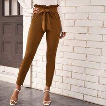 Belted Paperbag Waist Skinny Pants