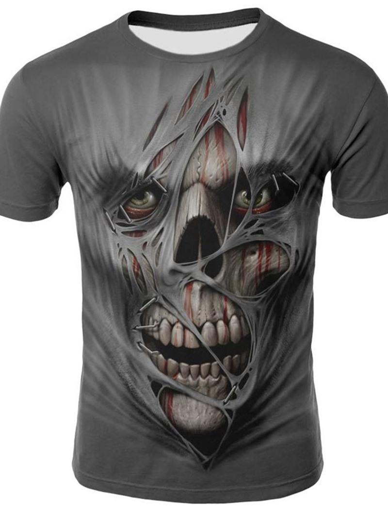 Ericdress Round Neck Print Skull Loose Pullover T-shirt