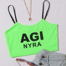 Neon gruenes Crop Cami Top mit Buchstaben Grafik