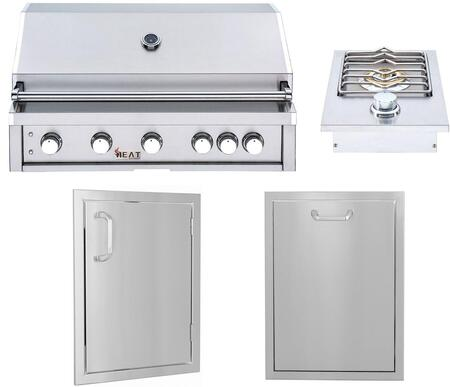 4 Piece Outdoor Kitchen Equipment Package with HTGR405LP Liquid Propane Grill  HTSB1LP Liquid Propane Side Burner  HTXDOOR14X20V Access Door and