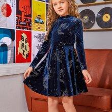Samt Kleid mit Stehkragen und Grafik Muster