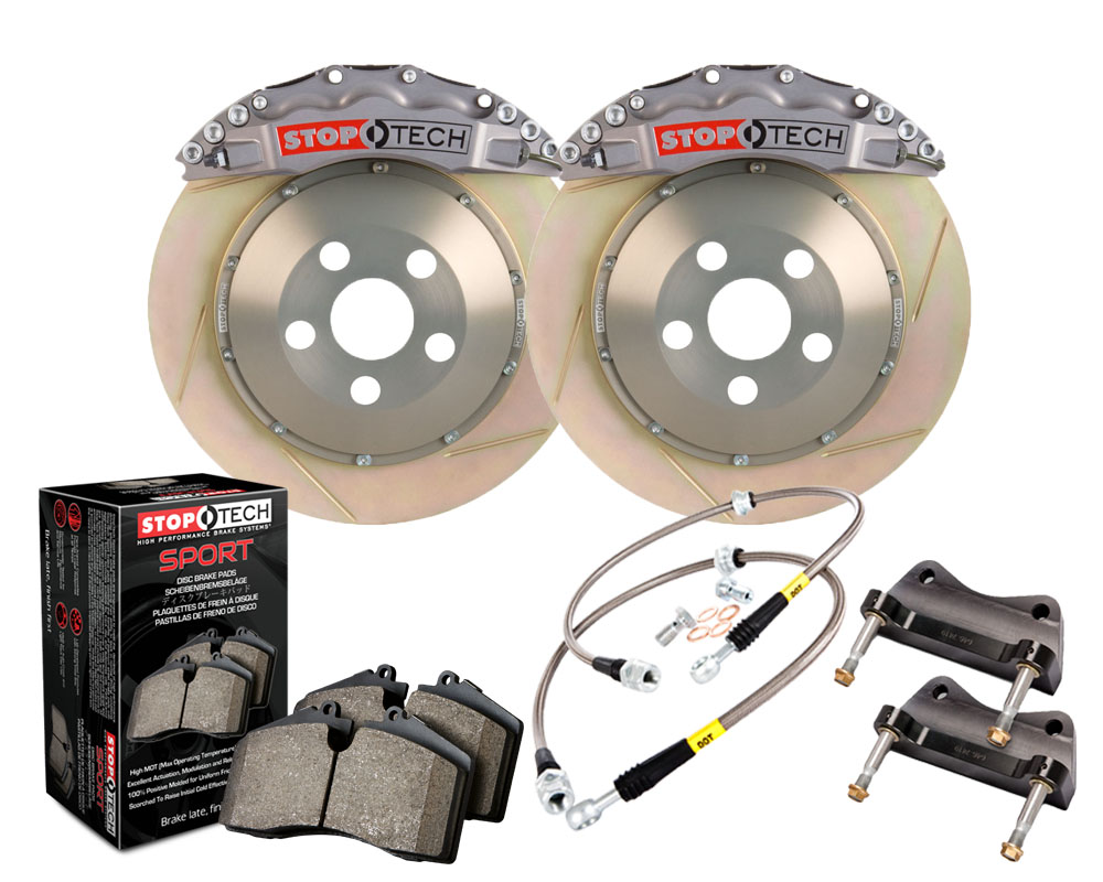 StopTech 83.788.6700.R3 Trophy Sport Big Brake Kit; Silver Caliper; Slotted 2 PieceRotor; Front Porsche Front