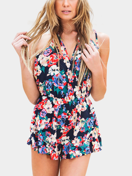 Yoins Multicolor Floral Print Wrap Front Open Back Halter Playsuit