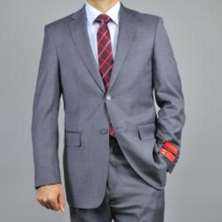Mens Charcoal Grey 2button Classic Wool Suit