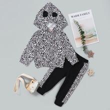 Baby Girl Leopard Print Hoodie And Sweatpants