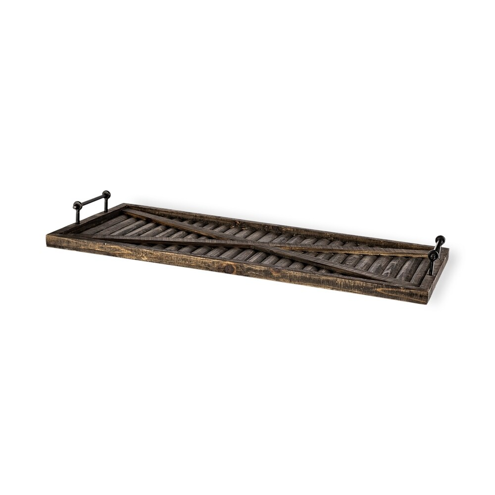 Mercana Foley Brown Wood Serving Tray with Black Metal Handles