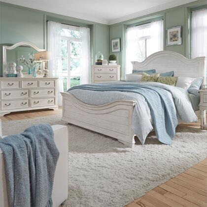Liberty Furniture 249-BR-QPBDMC 4 Piece Bedroom Set with Queen Size Panel Bed  Dresser and Mirror  Chest in Antique White