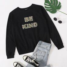 Pullover mit Buchstaben & Leopard Muster
