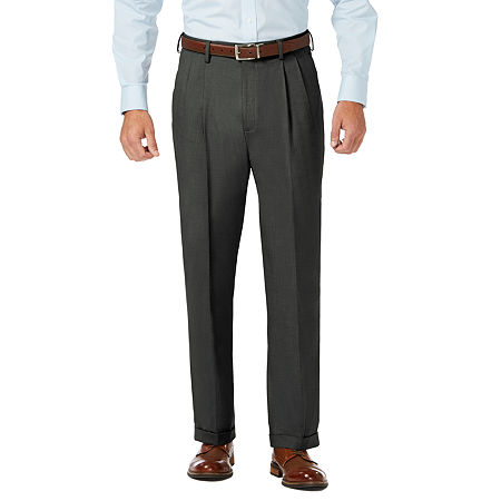 JM Haggar Classic Fit Pleated Dress Pant, 44 29, Gray