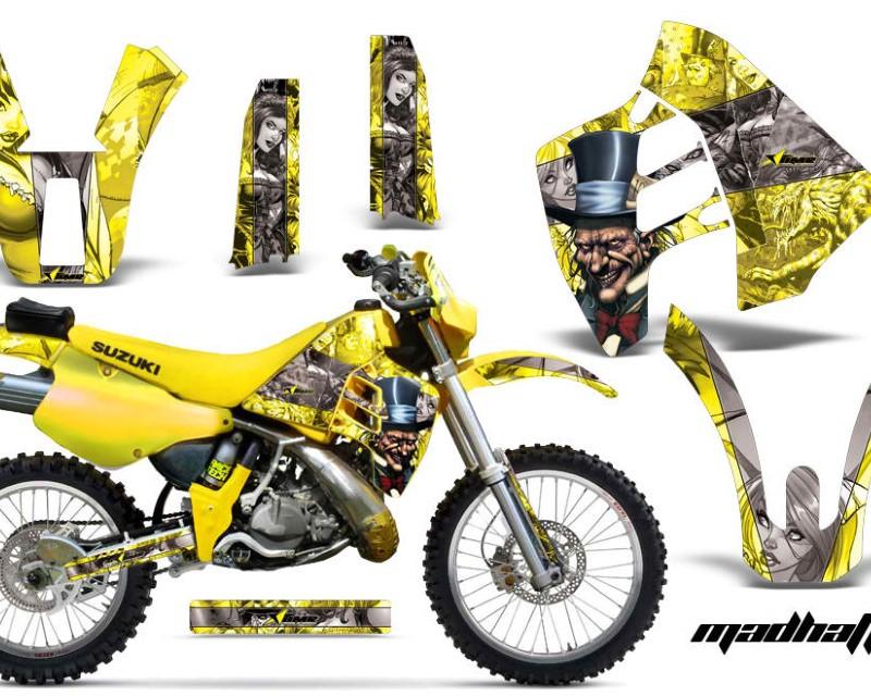 AMR Racing Dirt Bike Graphics Kit Decal Sticker Wrap For Suzuki RMX250 1989-1998áHATTER SILVER YELLOW