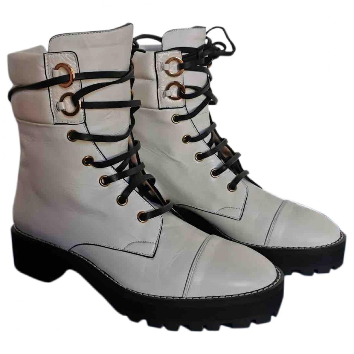 Stuart Weitzman - Boots   pour femme en cuir - blanc