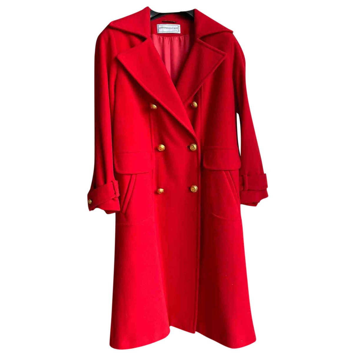 Non Signé / Unsigned Oversize Red Wool coat for Women 44 IT