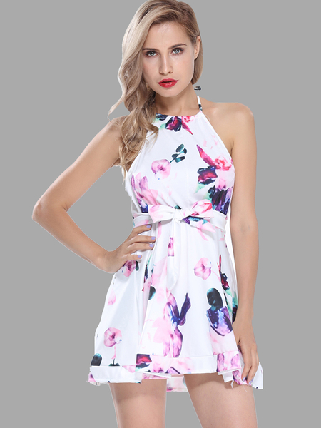 Yoins Fresh Floral Print Halter Mini Dress