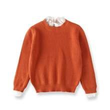 Pullover mit Kontrast Spitze