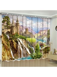 3D Grand Ancient Buildings on the Cliff Printed Magnificent Scenery 2 Panels Blackout Curtain