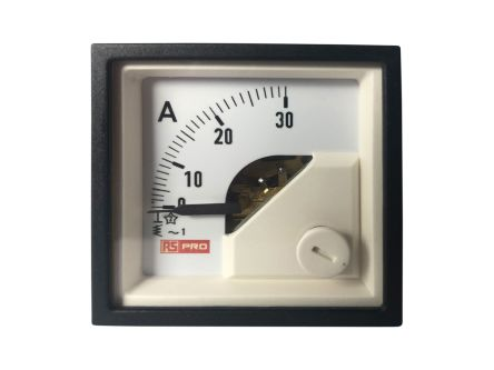 RS PRO Analogue Panel Ammeter 30 (Input, Scale)A AC, 48mm x 48mm, 1 % Moving Iron