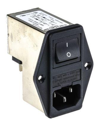 Schurter ,6A,250 V ac Male Panel Mount Filtered IEC Connector 2 Pole 4304.4024,Solder 2 Fuse