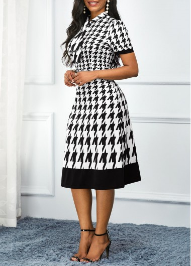 Women'S White Houndstooth Print Tie Neck High Waisted Short Sleeve Casual Dress Mock Neck Midi Elegant Work Dress By Rosewe - M