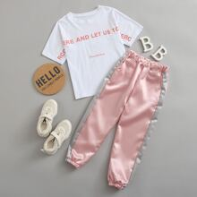 Girls Slogan Graphic Tee & Sweatpants