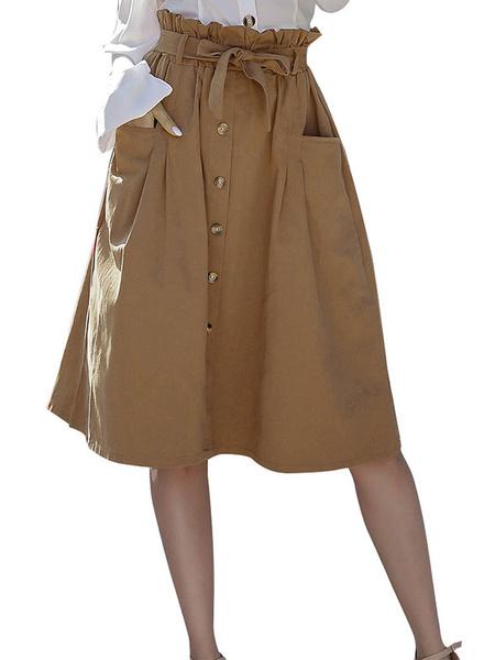 Milanoo Paper Bag Skirt Buttons High Waist Women Midi Skirt With Pockets