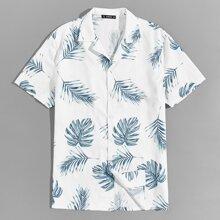 Men Revere Collar Tropical Shirt