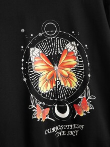 Butterfly and Graphic Print Drop Shoulder Pullover