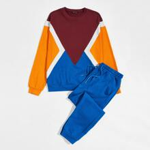 Guys Colorblock Pullover and Drawstring Waist Joggers Set
