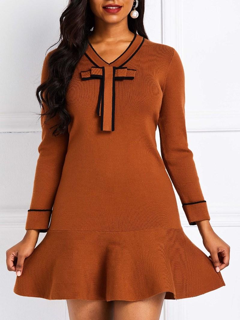 Ericdress Long Sleeve Knee-Length A-Line Bowknot Pullover Dress