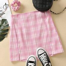 Split Side Tartan Mini Skirt