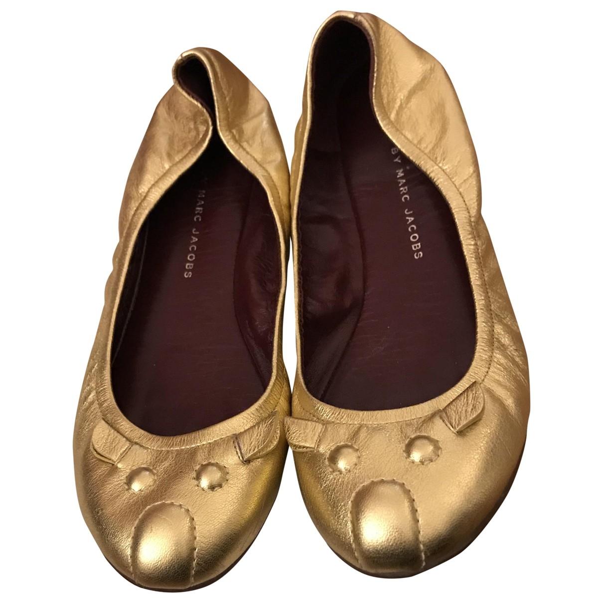 Marc Jacobs - Ballerines   pour femme en cuir - dore