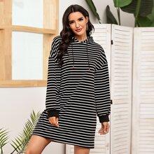 Striped Drop Shoulder Drawstring Hoodie Dress