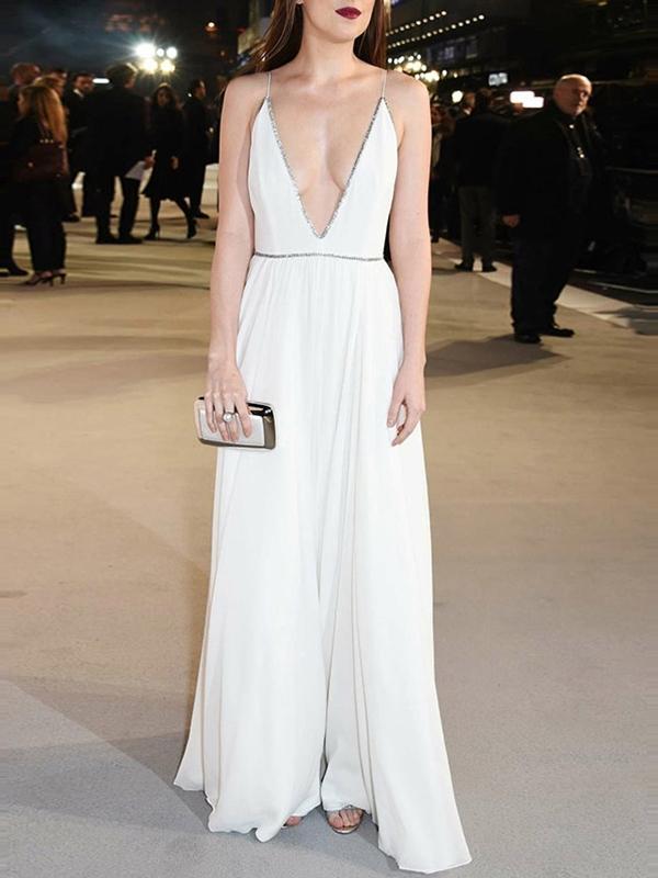 Sleeveless Floor-Length V-Neck A-Line Evening Dress