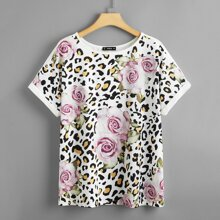Plus Floral and Leopard Print Top