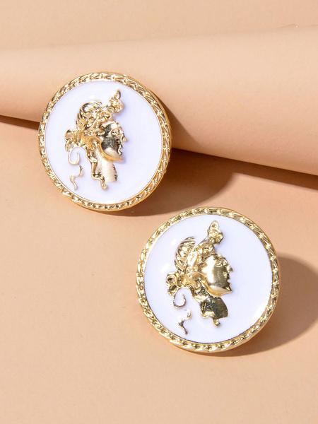 Milanoo Pendientes de monedas Pendientes de boton de relieve