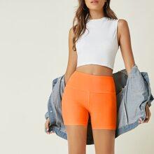 Neon Orange High Waist Biker Shorts